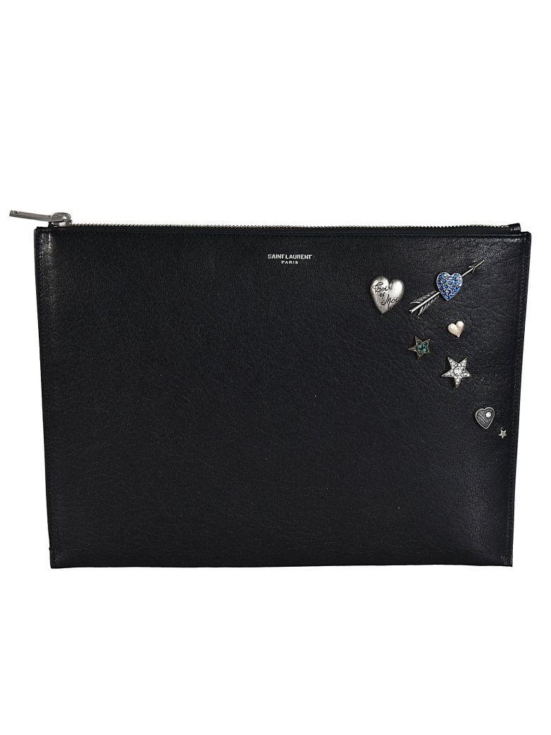 Saint Laurent Embellished Zipped Clutch In Black