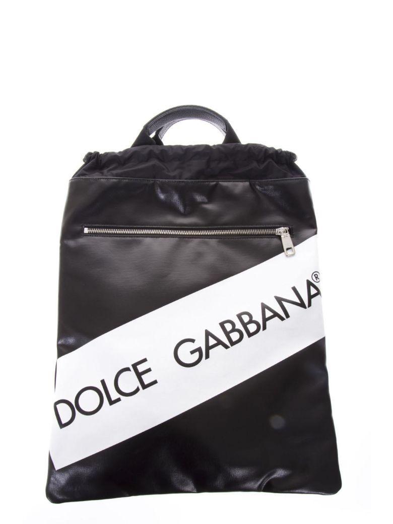 Dolce & Gabbana Black Leather Logo Drawstring Backpack In Black-white