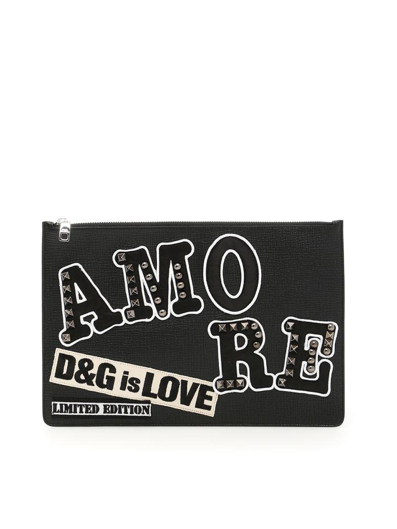 Dolce & Gabbana Leather Document Holder With Patches In Neronero