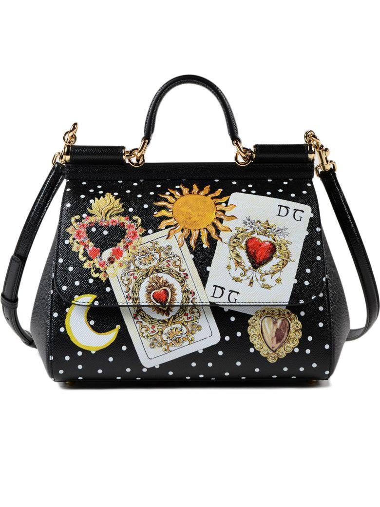 Dolce & Gabbana St. Dauphine Handbag In Hnmcarte Gioco Fdo.nero