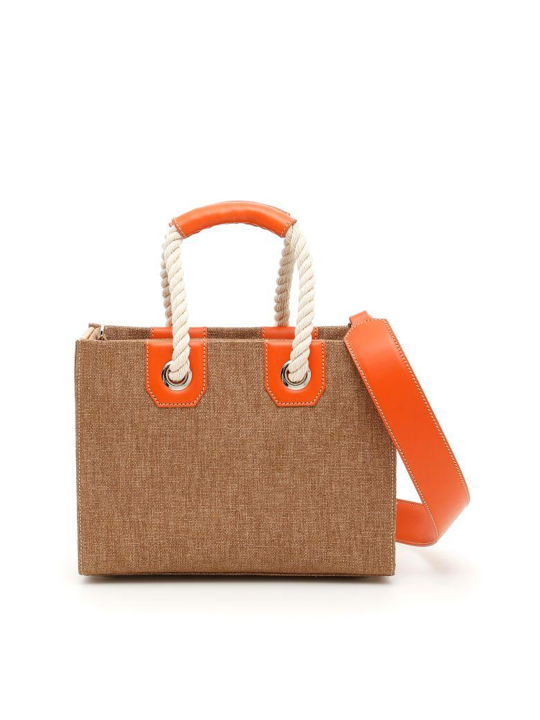 Rodo Fabric And Wicker Bag In Tobaccomarrone