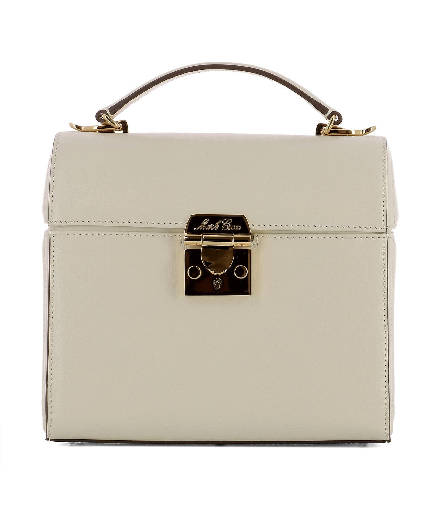 Mark Cross Ivory Leather Handle Bag In White