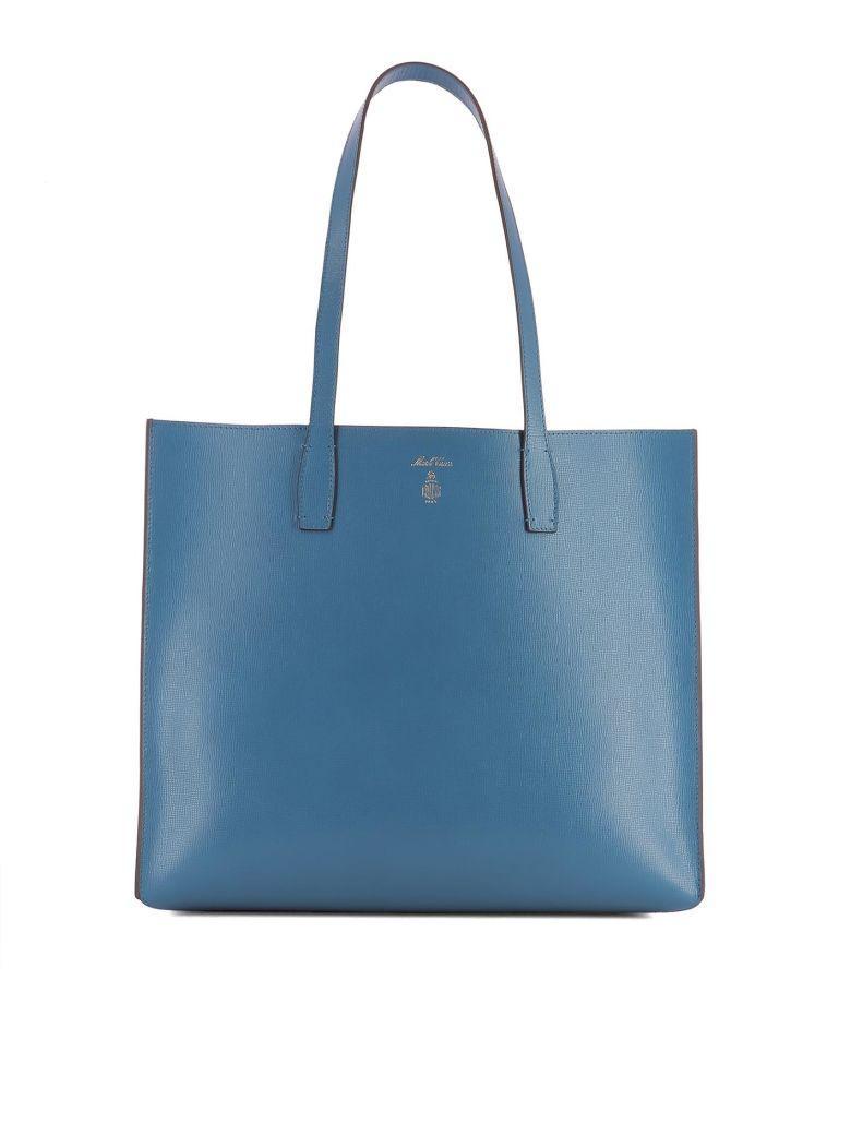 Mark Cross Blue Leather Shoulder Bag In Light Blue