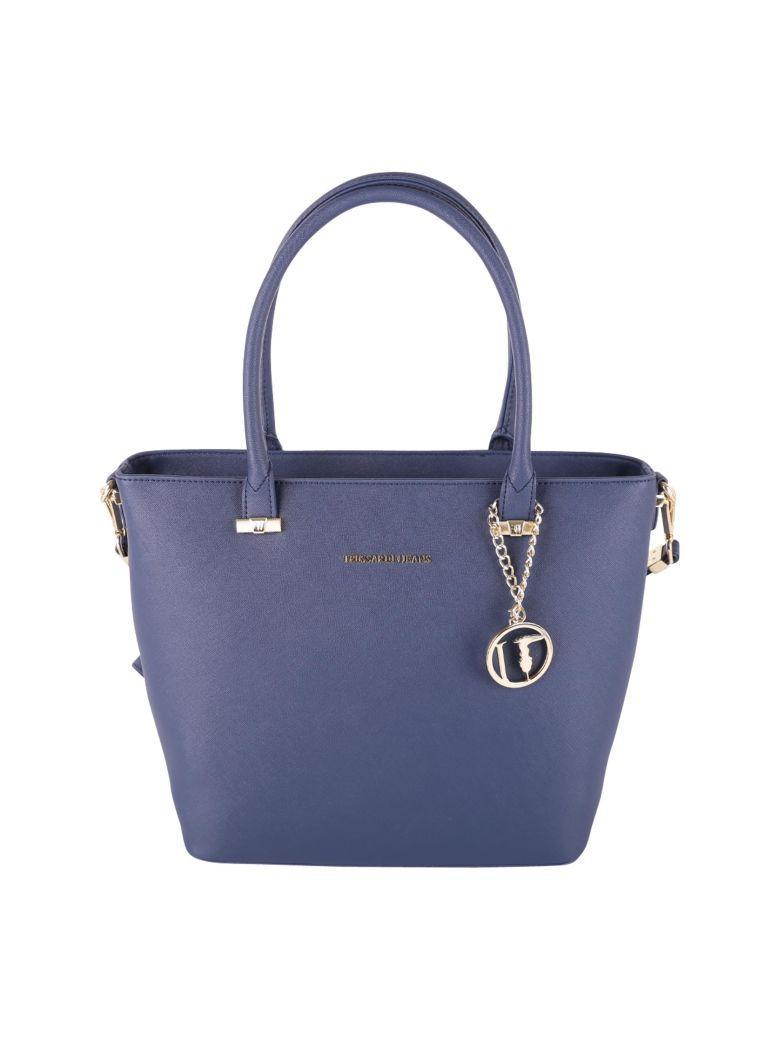 Trussardi Levanto Saffiano Faux Leather Tote Bag In Blue