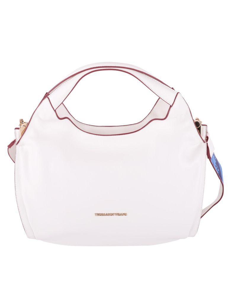 Trussardi Bellflower Small Hobo Bag In White