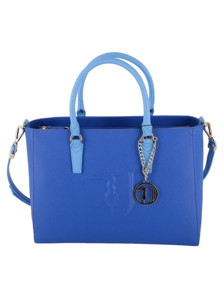 Trussardi Ischia Faux Leather Bag In Blue
