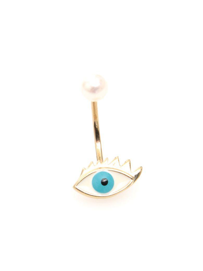 Delfina Delettrez Eye Earring 9kt Gold In Light Blueceleste