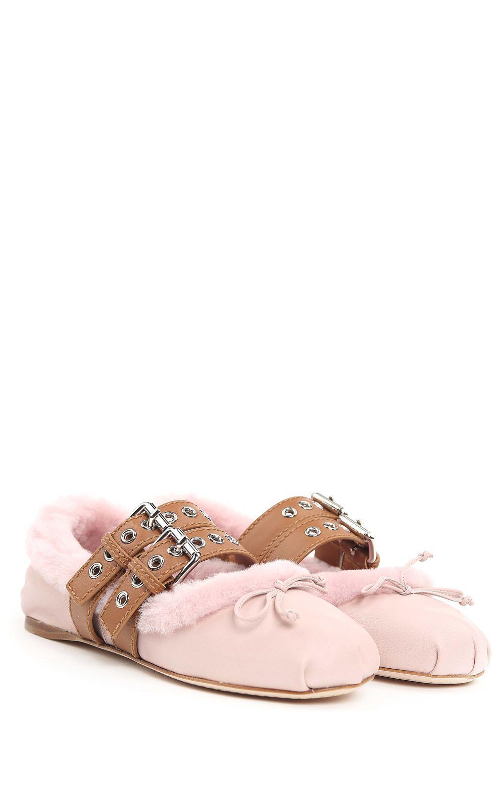 Miu Miu Leather And Shearling Ballet Flats In Rosa