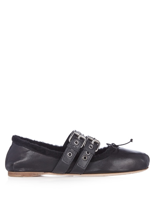 Miu Miu Double-strap Leather & Shearling Ballet Flats In Black