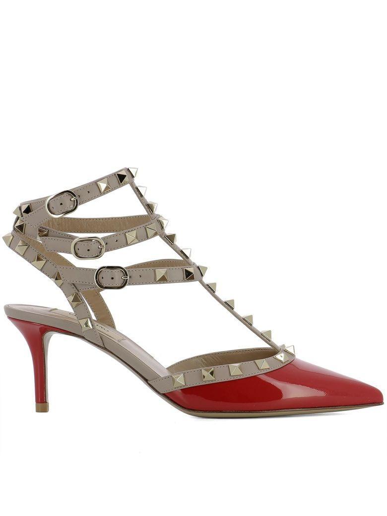 Valentino Garavani Red Leather Sandals In Pink
