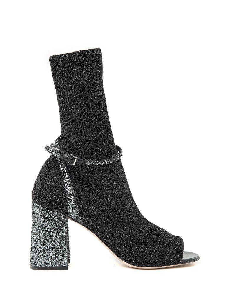 Miu Miu Lurex And Glitter-covered Sock Ankle Boots In Nero