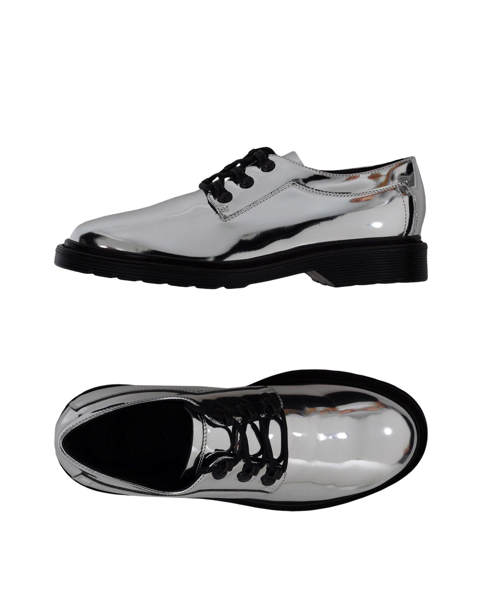 Mm6 Maison Margiela Laced Shoes In Silver