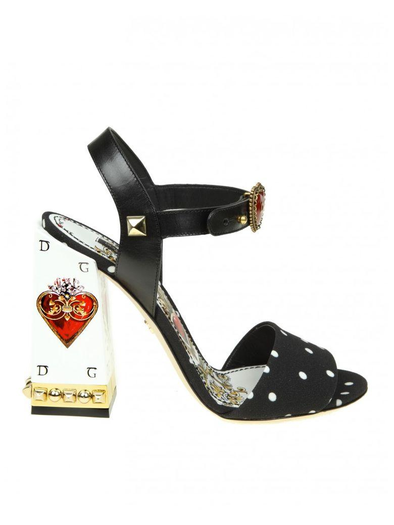 Dolce & Gabbana Sandal In Cady Printed In Pois With Jewel Heel In Black
