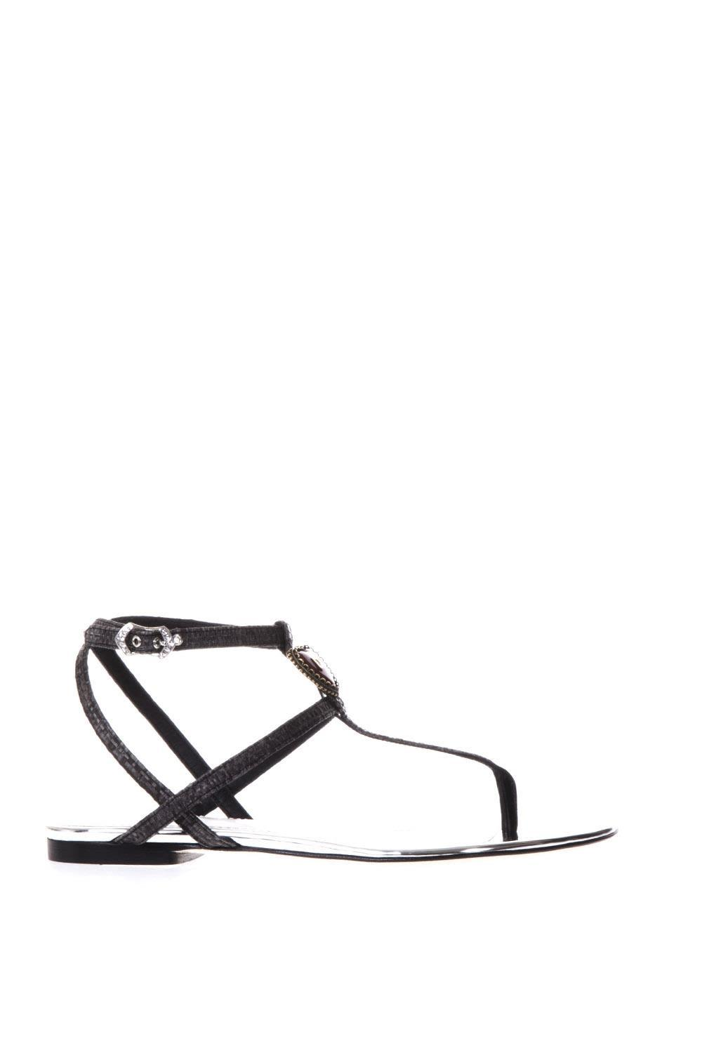 Dolce & Gabbana Black And Silver Sandals With  Logo In Black-silver