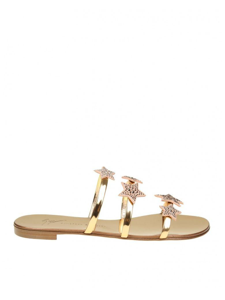 Giuseppe Zanotti Anya Star Slippers In Pink Gold Paint