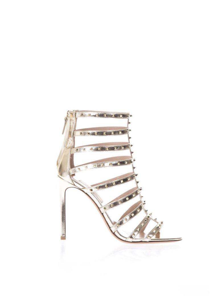 Valentino Garavani Lovestud Platinum Metallic Leather Sandals