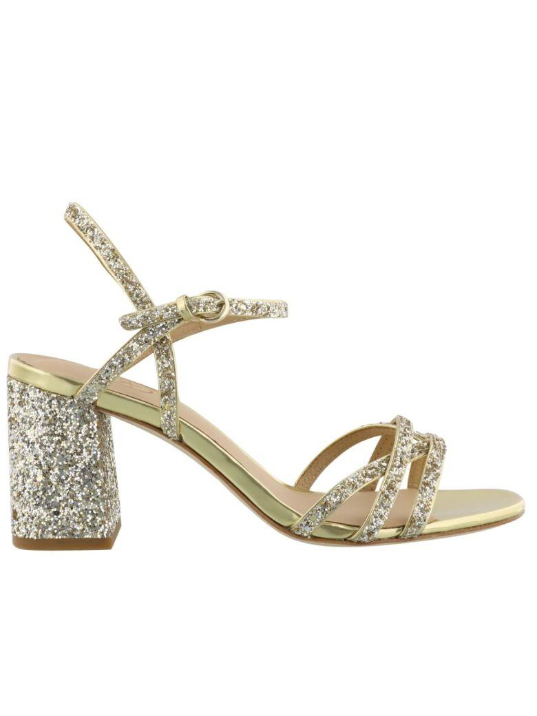 Ash Gold Leather Sandals In Champagne