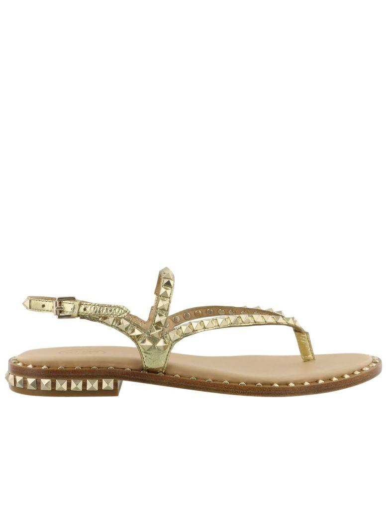 Ash Gold Leather Flats Sandals In Ariel