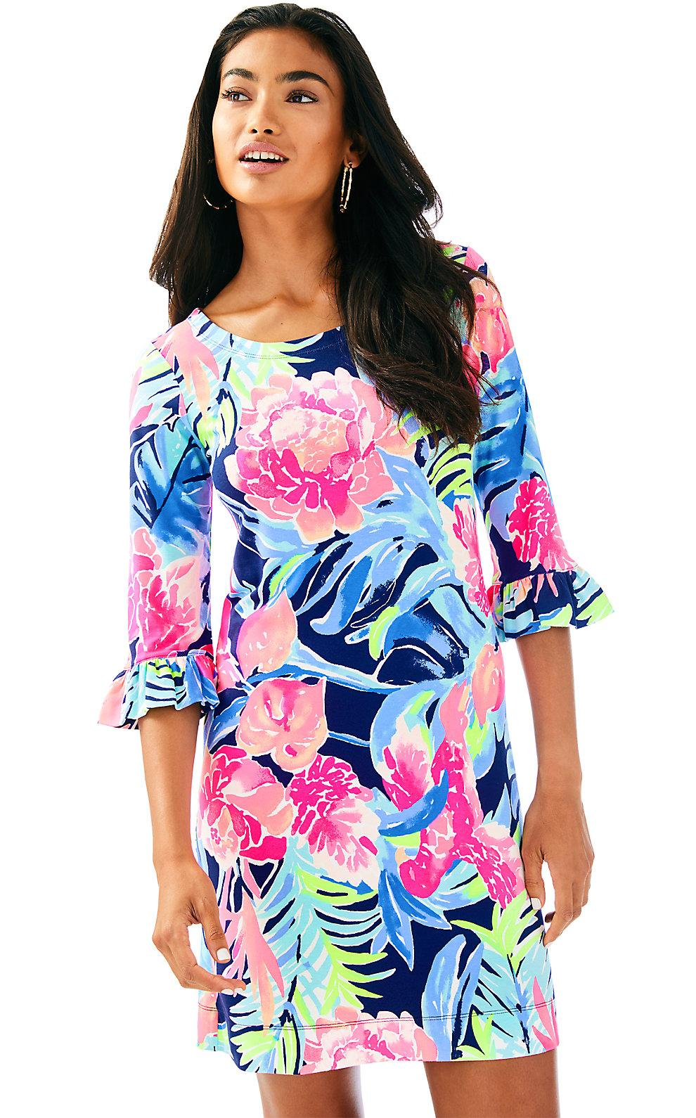 Lilly Pulitzer Upf 50+ Sophie Ruffle Dress In High Tide Navy Tropicolada
