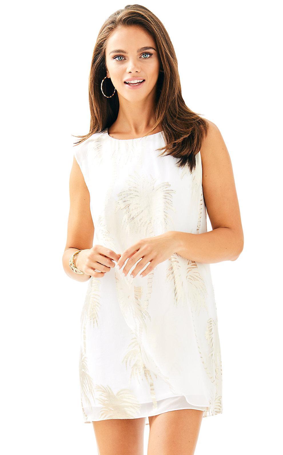 Lilly Pulitzer Calissa Silk Dress In Resort White Jumbo Palm Tree Clip