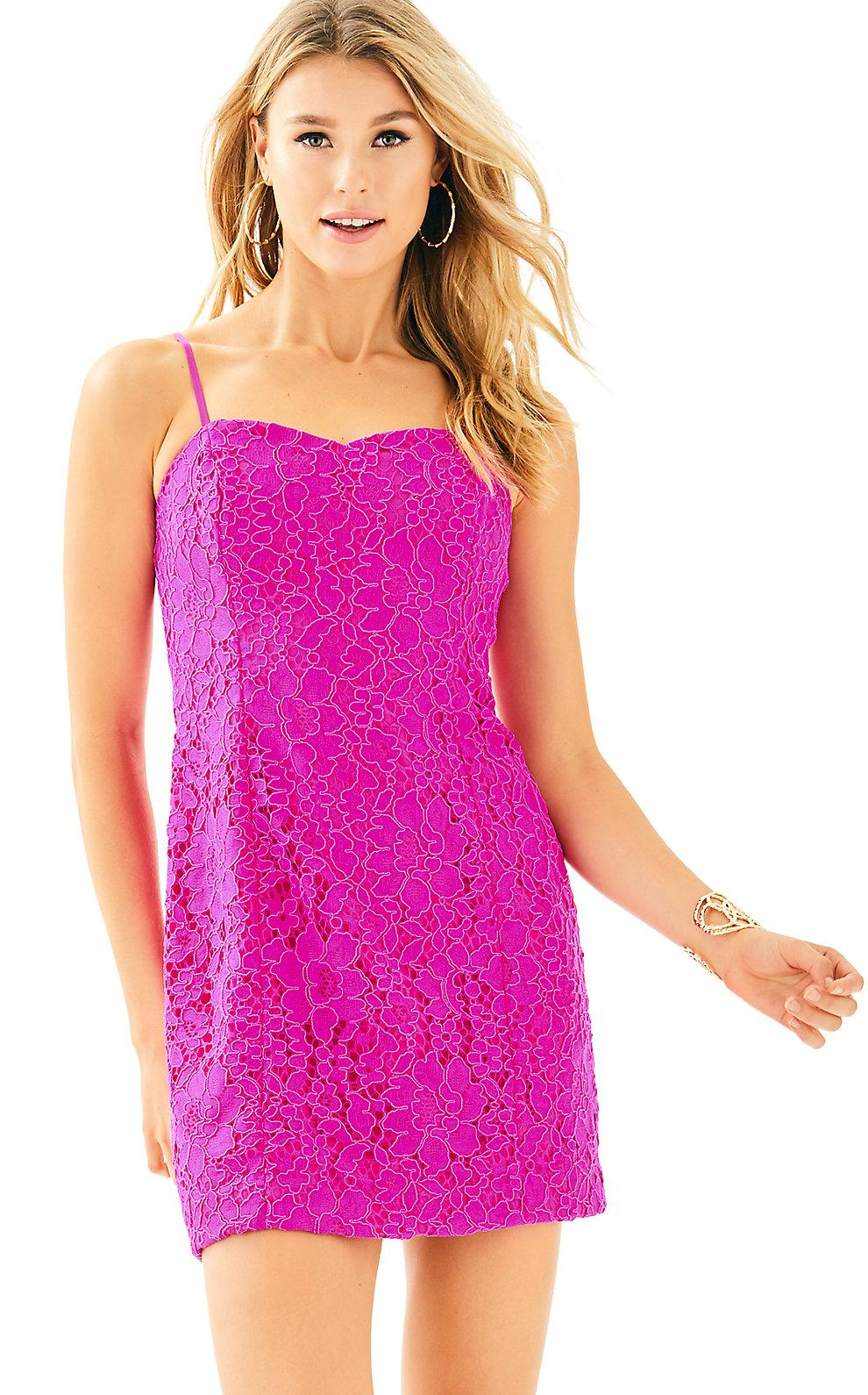 Lilly Pulitzer Demi Convertible Dress In Berry Sangria Corded Floral Lace