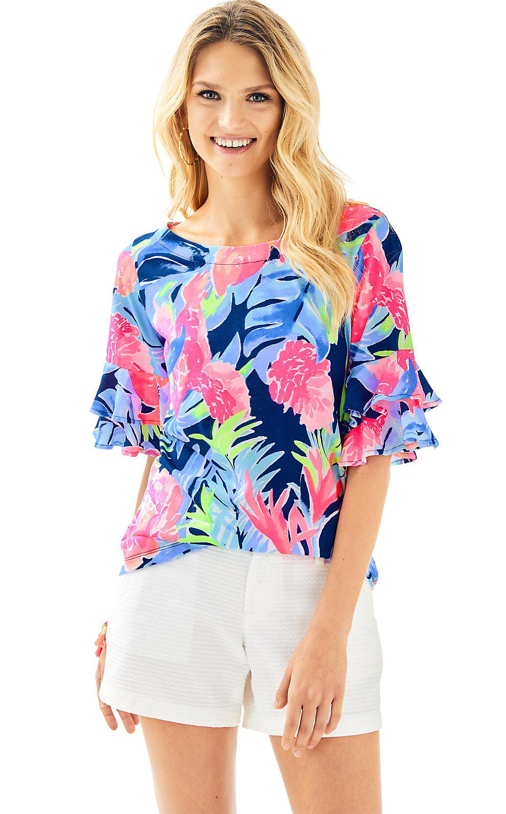 Lilly Pulitzer Lula Top In High Tide Navy Tropicolada