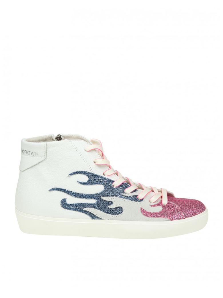 Leather Crown Sneakers High W Fire In Leather Color White And Pink