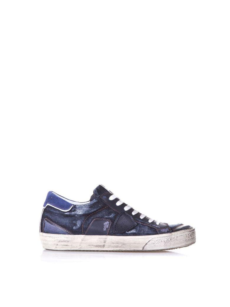 Philippe Model Bercy Blu Leather Sneakers In Basic