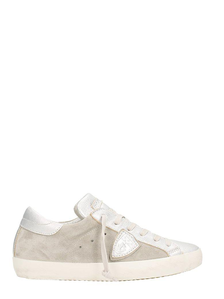 Philippe Model Paris Low Suede And Leather Silver Sneakers In Grey