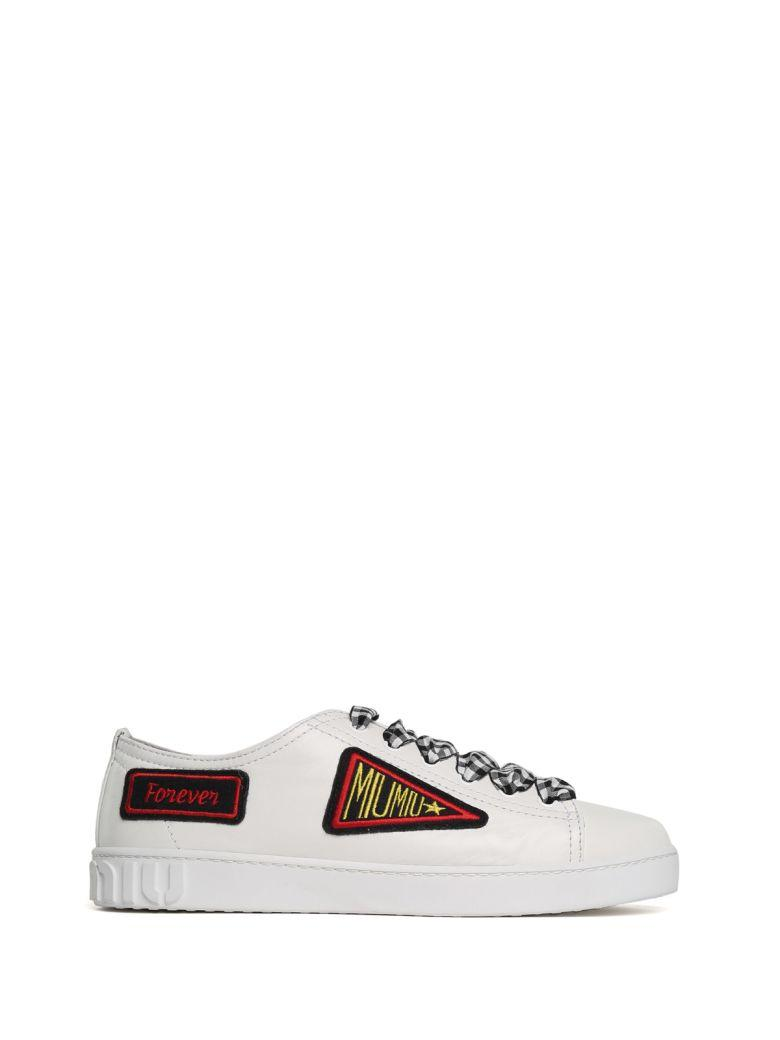 Miu Miu Patches Low-top Leather Sneakers In Bianco