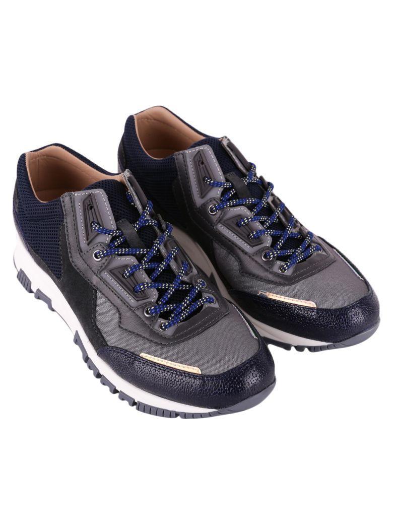 Lanvin Calf Sneakers In Dark Grey - Dark Blue
