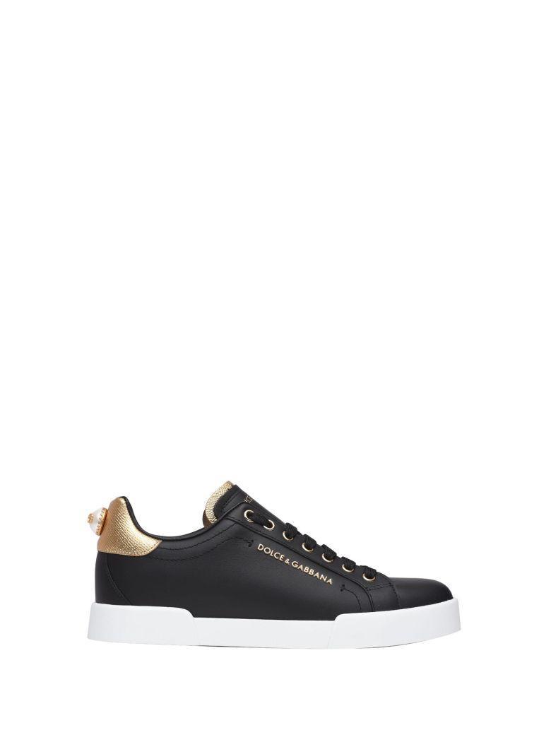 Dolce & Gabbana Black And Gold Sneakers In Nero E Oro
