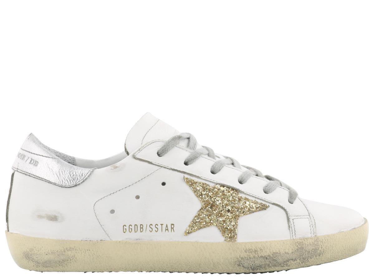 Golden Goose Superstar Sneaker In White Leather-gold Glitter