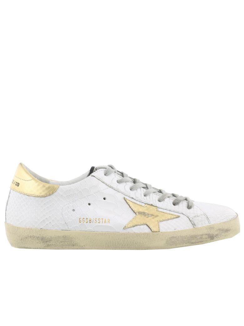 Golden Goose Superstar Sneaker In White Printed Snake-gold Star