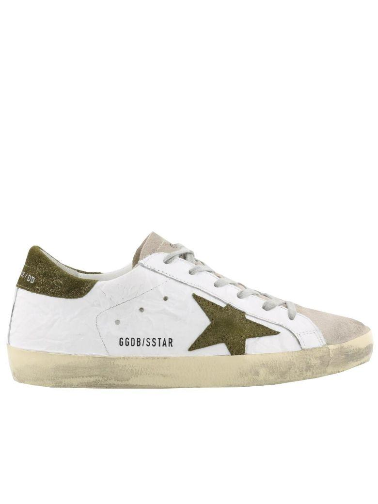 Golden Goose Superstar Sneaker In Wrinkle White-metallic Sand