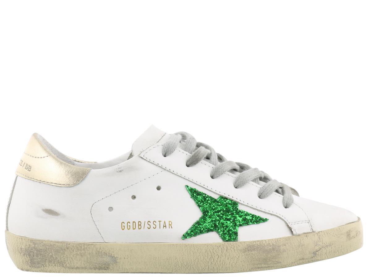 Golden Goose Superstar Sneaker In White Leather-green Glitter