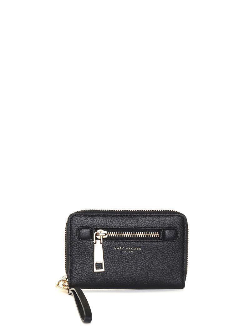 Marc Jacobs Gotham Zip Phone Wristlet Grained-leather Wallet In Nero Oro
