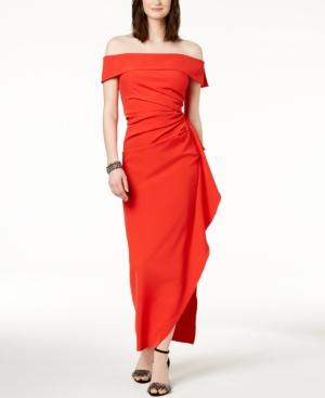 Vince Camuto Ruffled Off-the-shoulder Gown In Red
