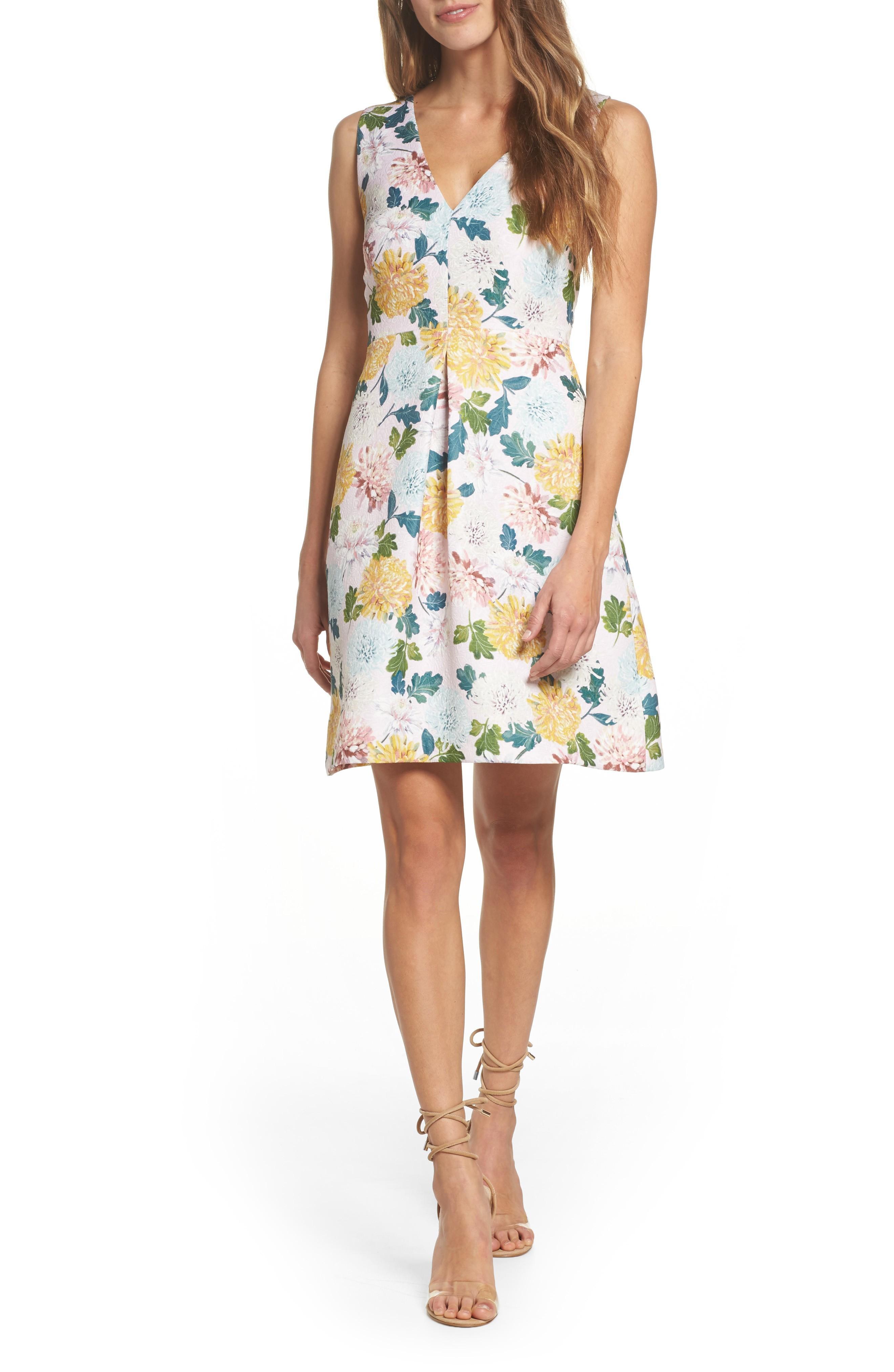 Sam Edelman Jacquard A-line Dress In Pink Multi