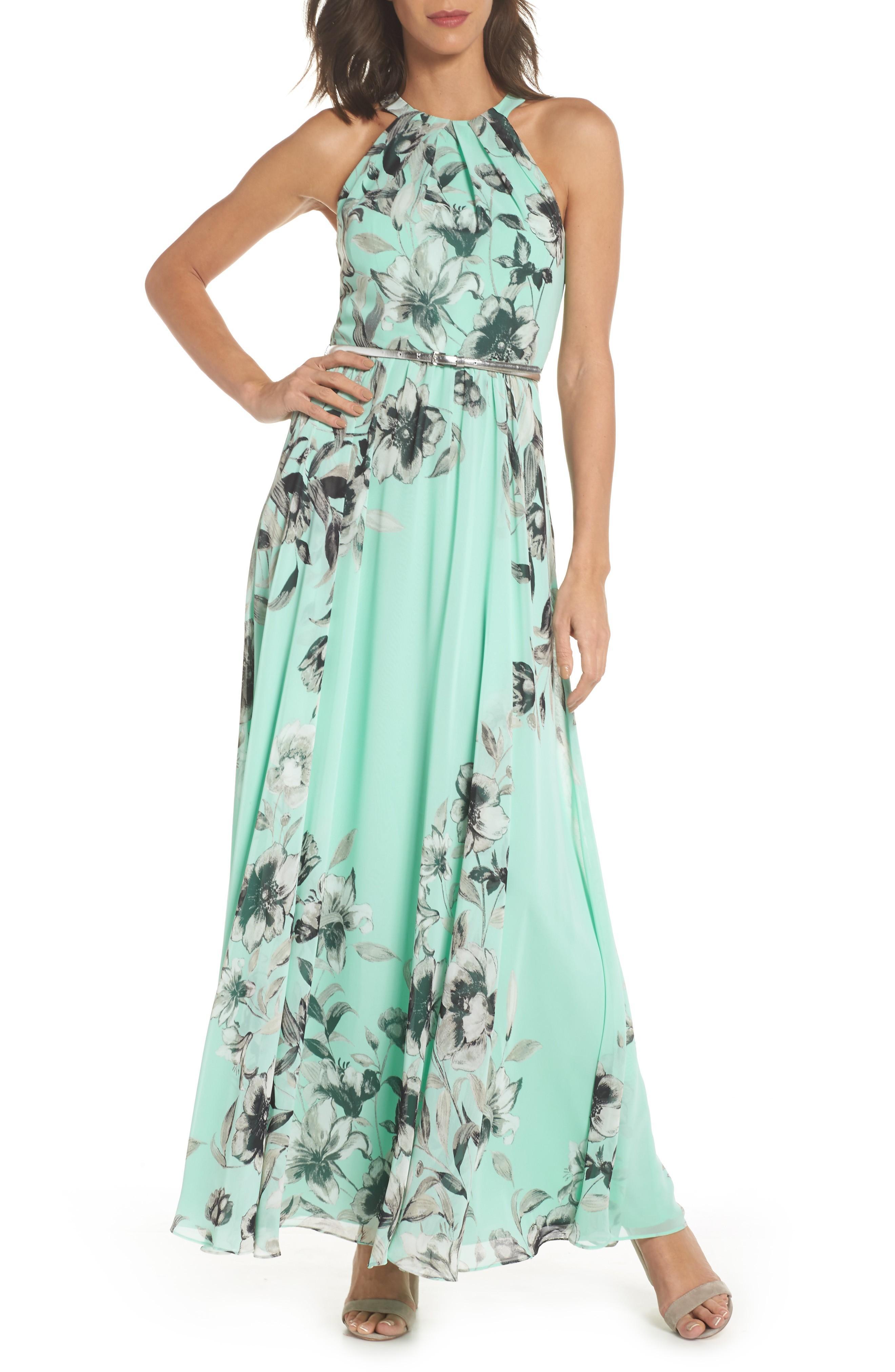 144368dcff07 Eliza J Belted Chiffon Maxi Dress In Mint | ModeSens