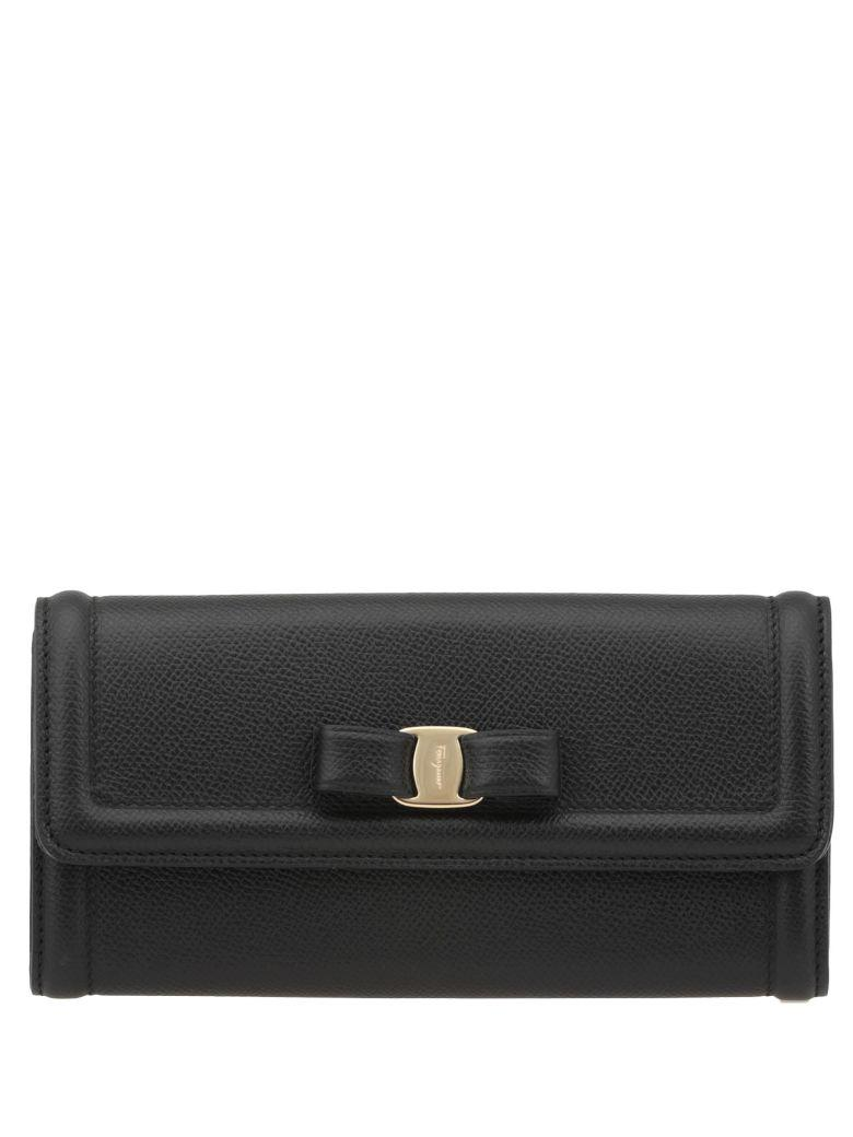 Salvatore Ferragamo Leather Wallet In Black