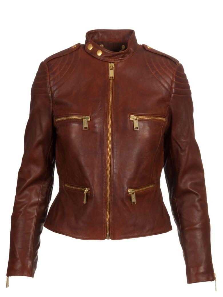 Michael Kors Leather Jacket In Cognac