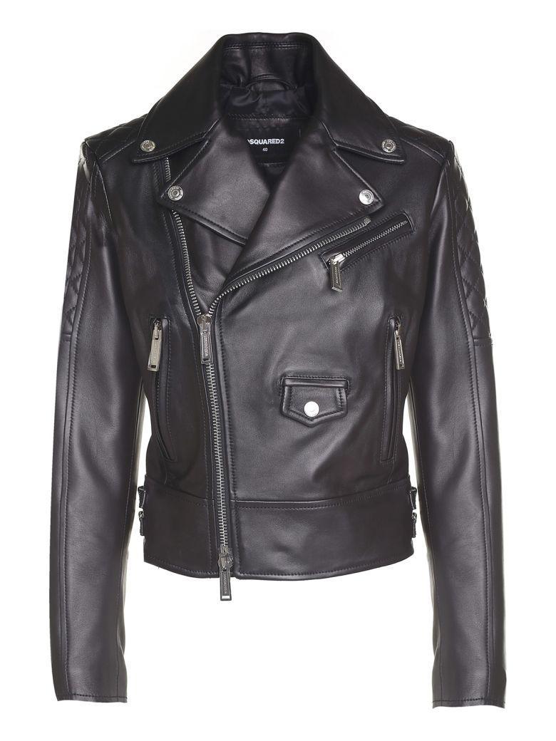 Dsquared2 Quilted-Shoulder Leather Biker Jacket In Nero