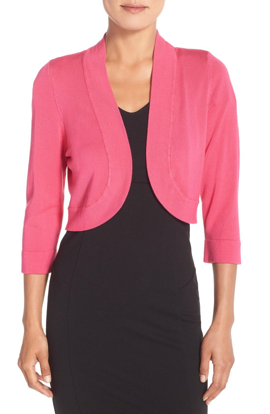 983db62c7fe A classic bolero cardigan with three-quarter sleeves is the perfect  layering piece for cool summer evenings. Style Name  Eliza J Open Front  Bolero Cardigan.