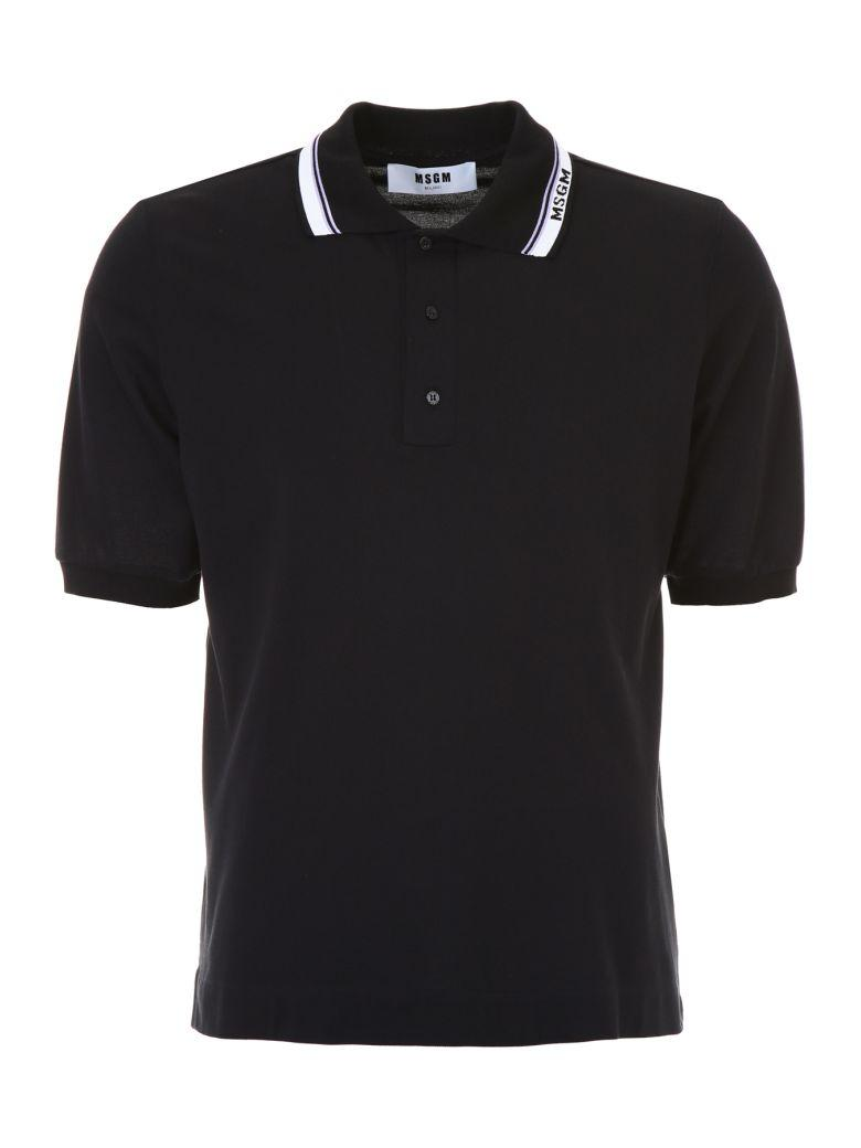 Msgm Polo With Logo On The Collar In Nero