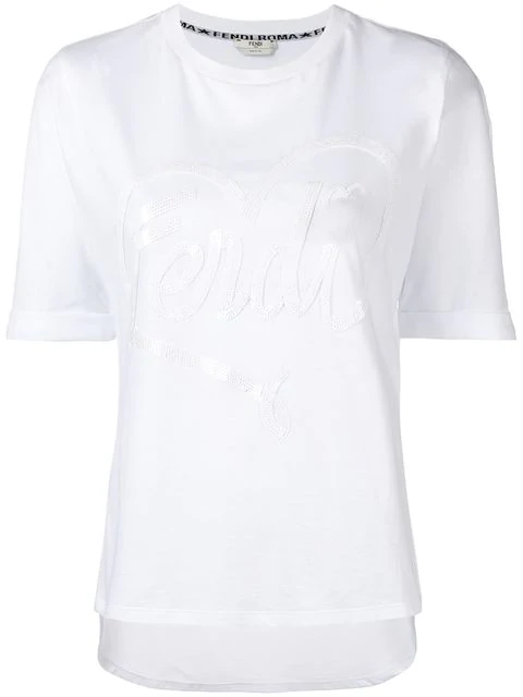 Fendi Embroidered Cotton T-Shirt In White