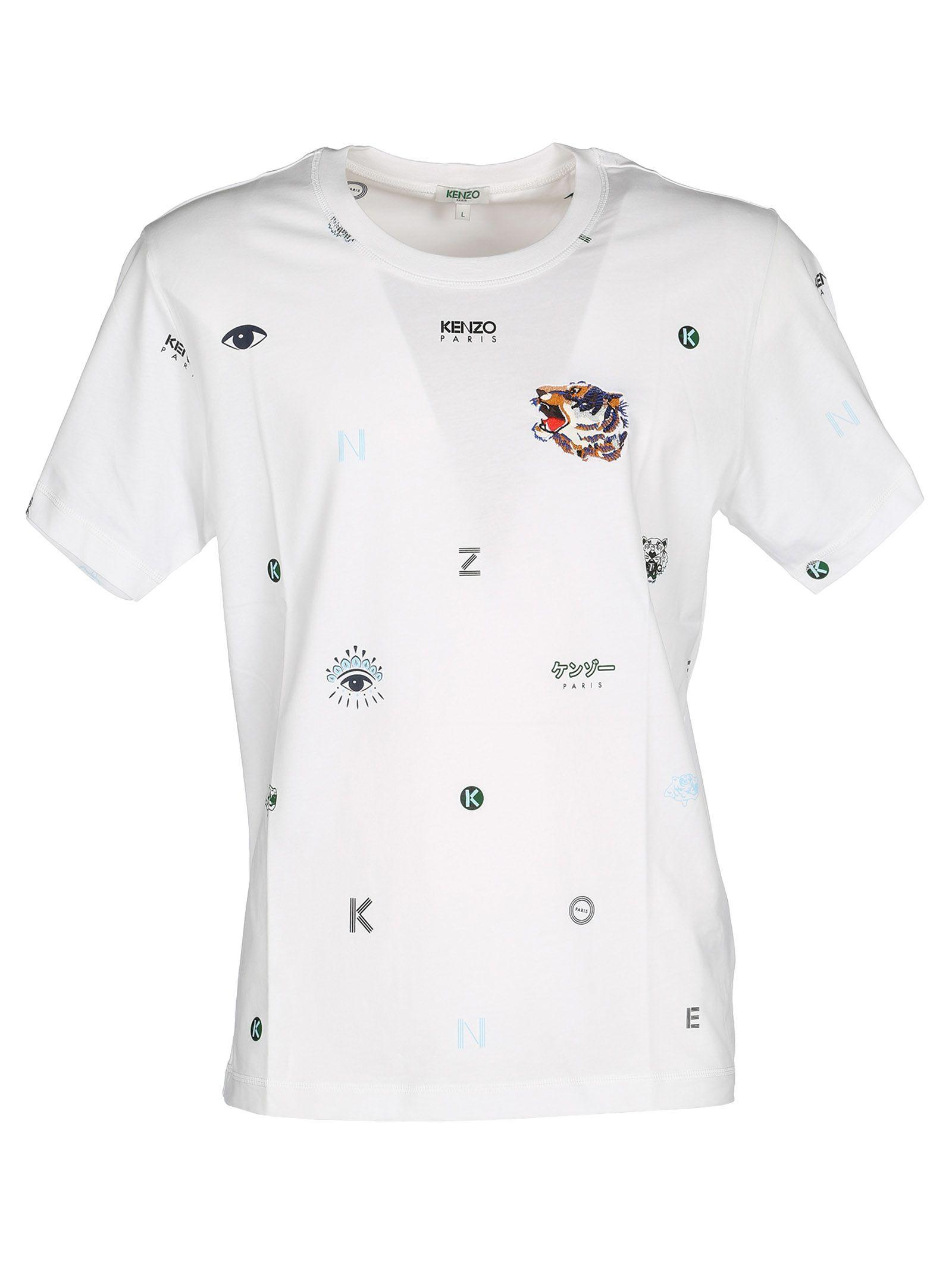 1637a804 Kenzo Multi Icons T-Shirt In White | ModeSens