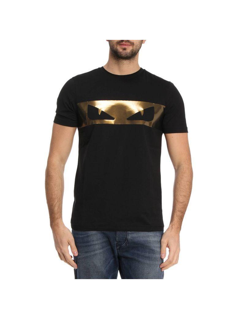 ceaf78aa3 Fendi Black-Gold Bag Bugs Cotton Jersey T-Shirt | ModeSens