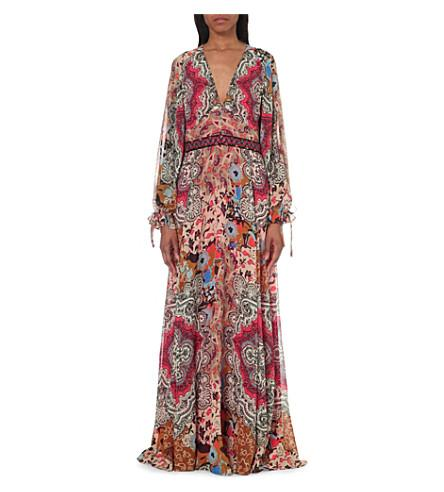 Etro Paisley Print Silk Maxi Dress In Coral