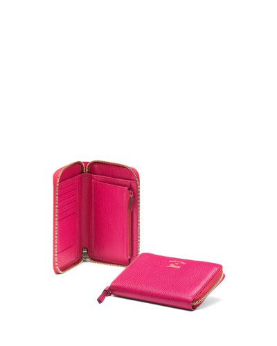 cba64a8527a5 Gucci Swing Leather Mini Zip Around Wallet, Fuchsia | ModeSens